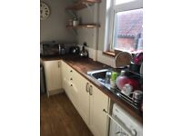 Howdens kitchen units, double oven, integrated fridge freezer, job, sink and work top