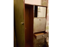 "VINTAGE WARDROBE - QUALITY, WELL-MADE & SOLID - HANGING SPACE/DRAWERS - 60""X40""X17"" - £20 - l21"