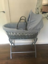 Grey and blue Moses basket with stand