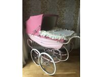 Rare huge pink balmoral silver cross baby pram silvercross tray, apron and pram cover cost £1400