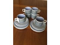 Hornsea pottery tapestry set of 6 cups, saucers & teaplates