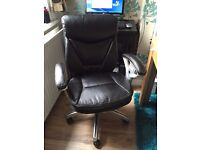 Swivel Leather Office Chair with Adjustable Armrest & Adjustable Height and Tilt (Black)