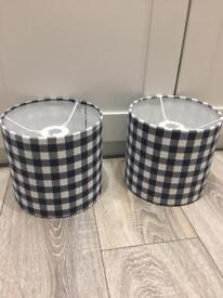 2 x navy gingham lampshades