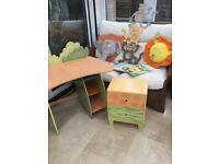 Bundle of children's furniture / decorations , bright animal theme