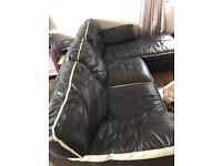 Leather brown corner sofas and puff
