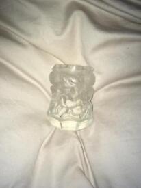 Vintage Desna Czech Glass vase Curt Schlevogt cherubs satin glass toothpick holder