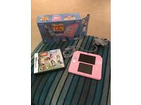 Pink Nintendo 2DS with box, charger and Lego friends game