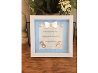 💙💙handcrafted new baby boy gift shadow box frame