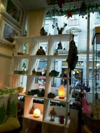 Painted pine display shelves