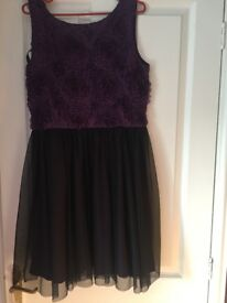 Dorothy Perkins size 12 dress. Unused with tags. Textured purple flowers and black mesh