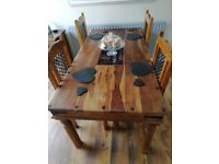 Wooden Dining Table and 4 Chairs or option of 6 Chairs