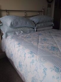 Double Divan Bed with Headboard and Bed Linen