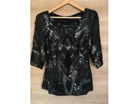 New without tags French Connection black sequin top