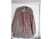 LEOPARD PRINT COAT,BY DENNIS BASSO, SIZE 3 XL, SELLING FOR £40.00 OR NEAR OFFER