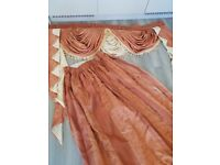 copper/gold Satin Luxury Curtains with matching pelmet & tie backs -diff sizes available please read