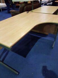 Office desks Oak, Maple Beech, curved desks , straight office desks