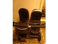 double pram/pushchair- firstwheels city twin black