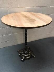 Pub poseur table/cast iron base/ash top/bar/coffee shop/cafe/bistro