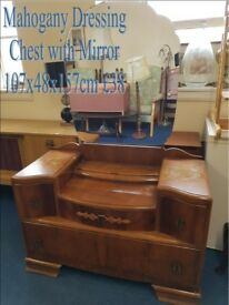 Vintage Mahogany 4 drawer Dressing chest with mirror
