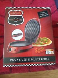 Gourmet Gadgetry Retro Diner Pizza Oven/Multi-Grill Maker Machine | Metallic Red