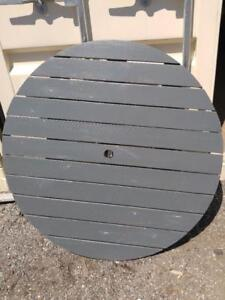 """Oakville 40"""" Round Wood Table Top PAINTING AVAILABLE Outside Patio Solid Wood Gray No legs wooden tabletop"""