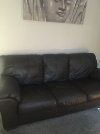 Dark Brown leather 3 piece and 2 piece sofa