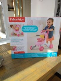 Fisher price push along baby stroller - brand new