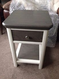 NEW Lamp Table solid wood perfect cond. Pale grey & dark wood.