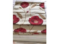 Door curtain and matching poppy blinds with fittings