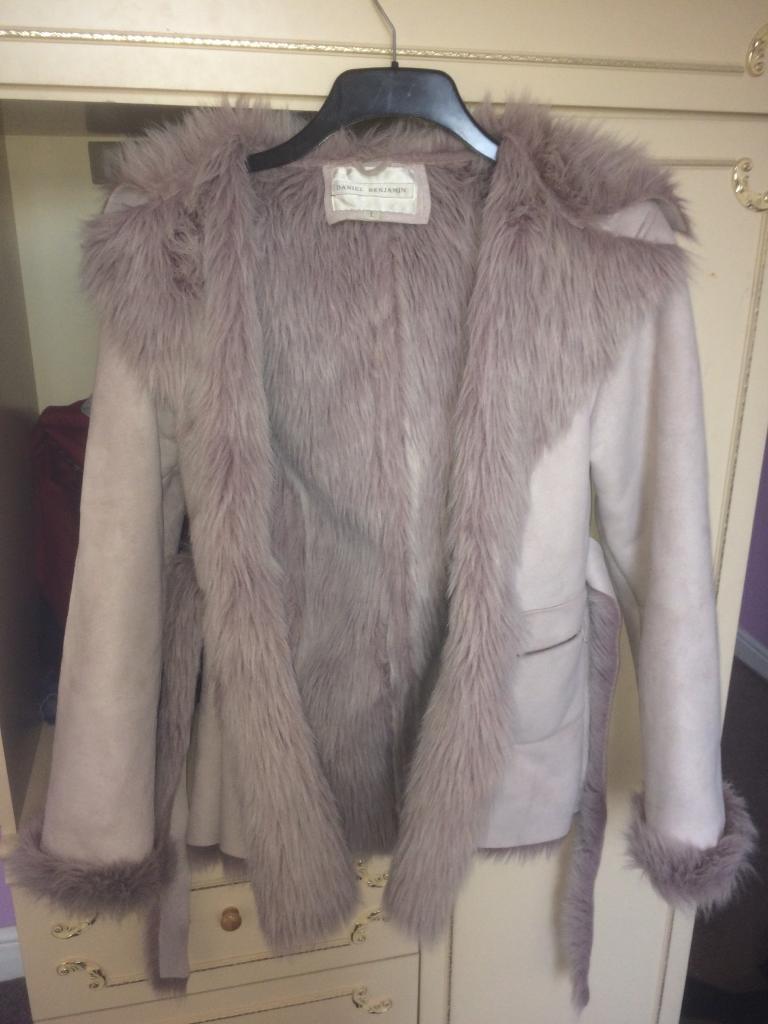 Large Daniel Benjamin faux fur lilac/light pink coat