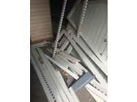 Industrial steel shelving / shop fittings , heavy duty .