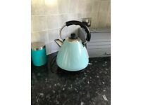 Eggshell blue Kettle and toaster set