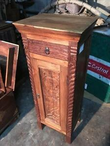 Armoire Tiroir en Bois de Teck sculpté - Indonésie // Handcarved Teak Wood Cabinet with drawer -Indonesia