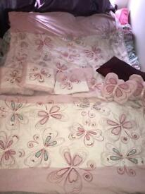Girls next bedroom set - curtains, 2x duvet covers & pillow, 5 cushions