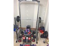 Bodymax squat rack, Olymic bar and weights