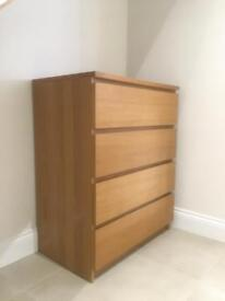 Oak veneer chest of drawers