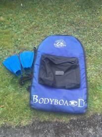 Rhino bodyboard bag and fins flippers