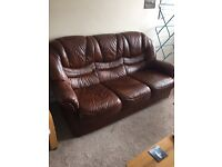 **FREE** BROWN LEATHER SOFA - FREE TO COLLECTOR!