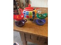 Whittards genuine Tea pot and four coloured tea cups