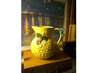 Yellow 'strawberries' Shorter Pottery England Flower vase/jug weave effect grt condition collectable