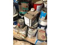 Pallet Of Open Trade Paint Tins. Internal & External, Stains & Varnishes, Oils!!