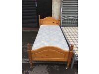pine single bed with matt
