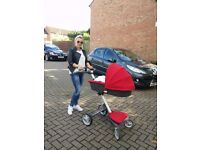 Stokke Xplory in red Northampton Car seat - Maxi Cosi - used
