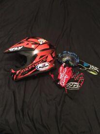 Motocross helmet goggles and gloves