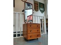 Rare 1960's Ercol Chest of Drawers/Dressing Table with Mirror. Vintage/Retro/Mid Century