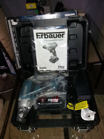 ERBAUER 18v IMPACT DRIVER USED ONCE AS NEW IN BOX WITH 2 BATTERIES AND CHARGER