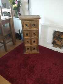 Slim tall wooden Unit with 8 Drawers