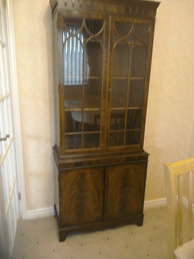 Tall Ornate Antique Display Cabinet In Wirral