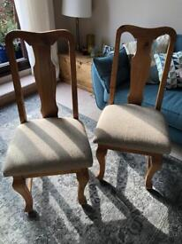 Wooden dining chairs x2