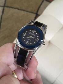 Ladies silver and blue cuff bracelet watch quartz movement new